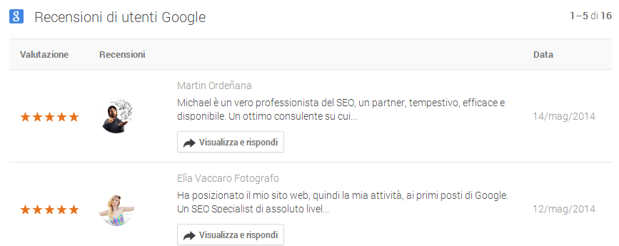 recensioni google local places