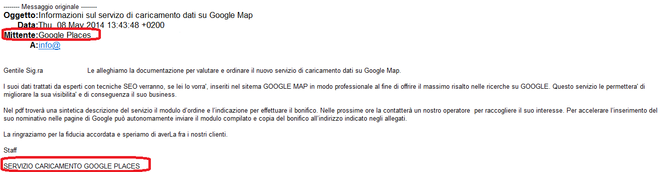 Google Places e i suoi Mistificatori: Vade Retro!