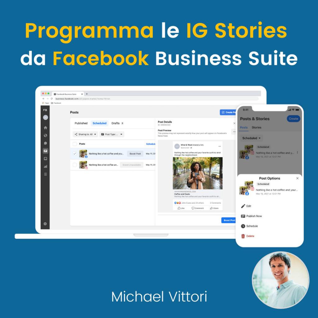 programmare instagram stories da facebook business suite desktop mobile