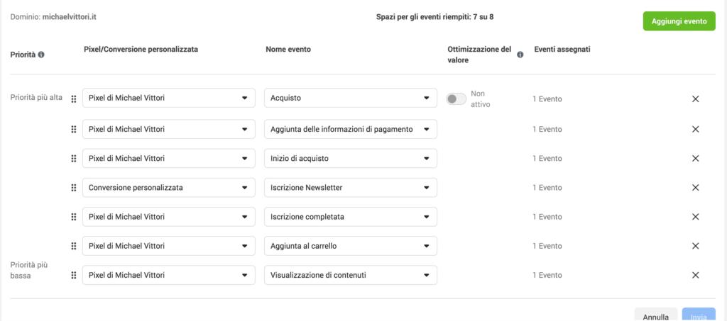 configurazione misurazione eventi aggregata facebook ads