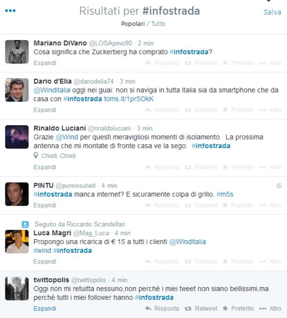 Twitter hashtag #infostrada