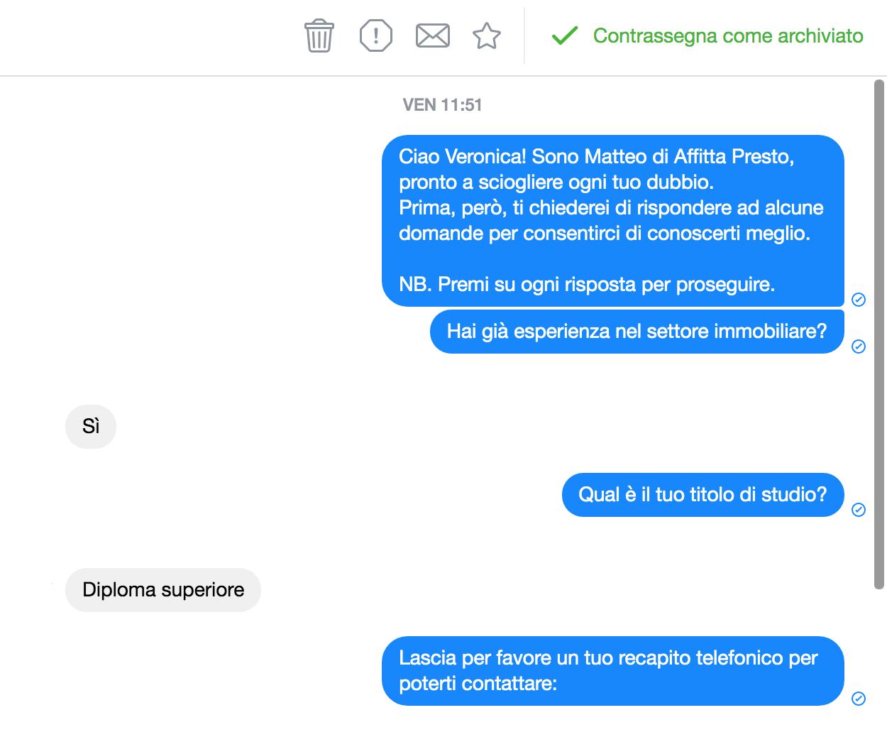 acquisizione contatti bot messenger