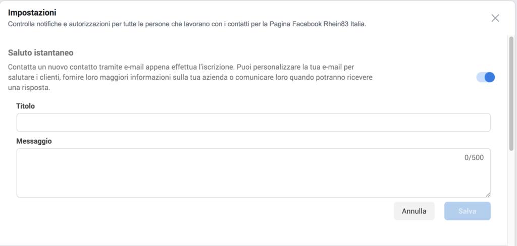 autorisponditore mail marketing facebook