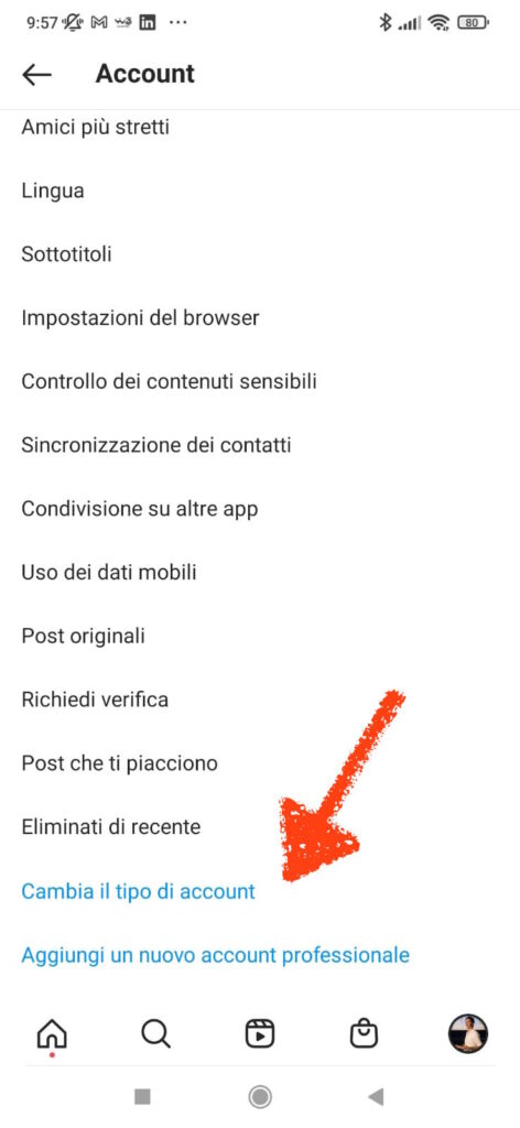 trasformare account personale instagram aziendale