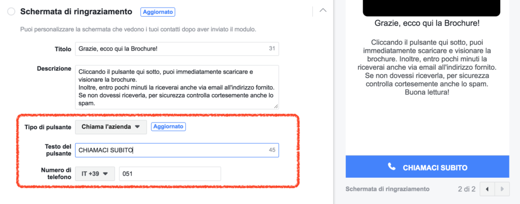 chiamata da lead ads facebook