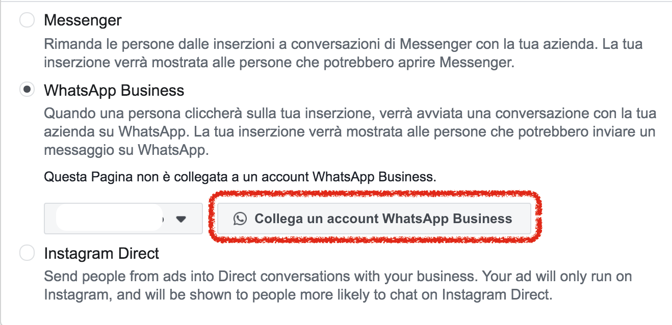 collegamento whatsapp business pagina facebook