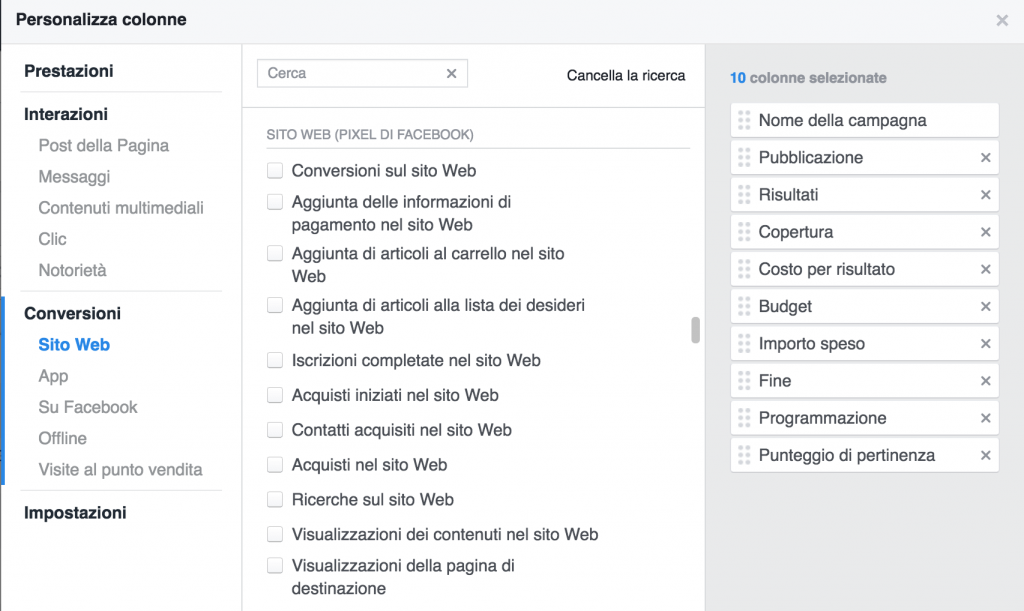 colonne facebook ads manager