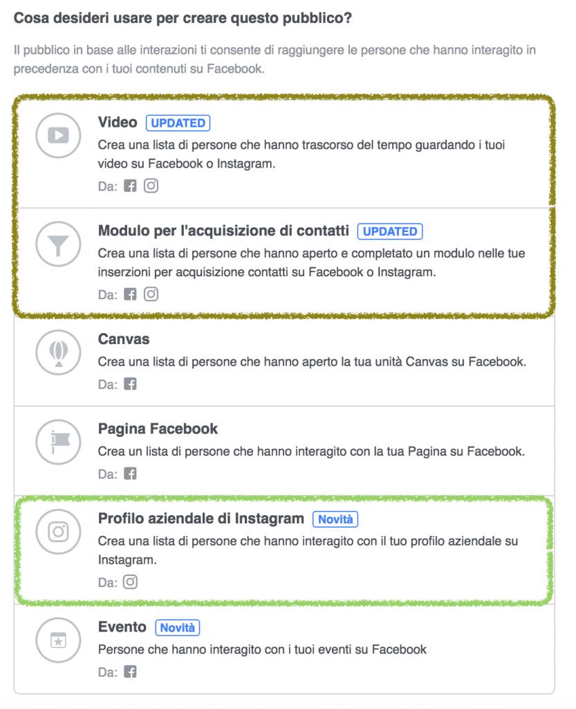 come creare pubblico personalizzato instagram