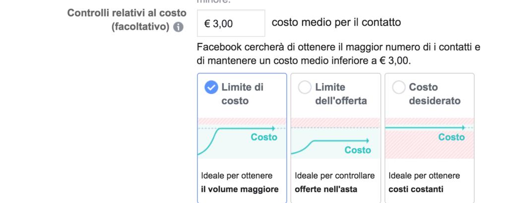 controlli dei costi facebook ads