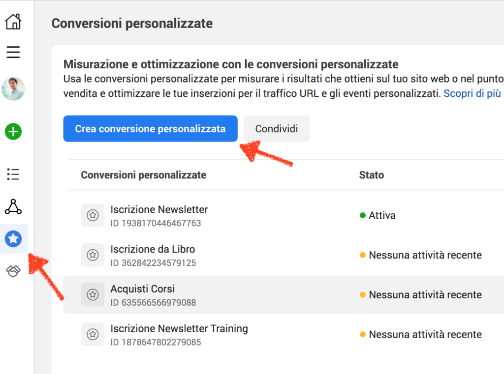 conversioni personalizzate facebook come creare