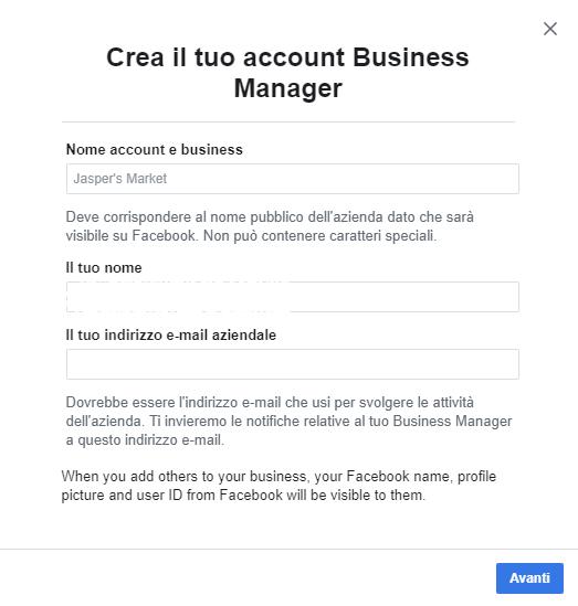 creazione account business manager