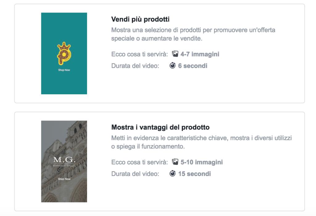 creare annunci video facebook instagram verticali