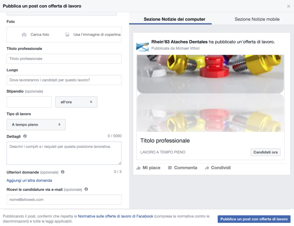 creare offerta lavoro su facebook