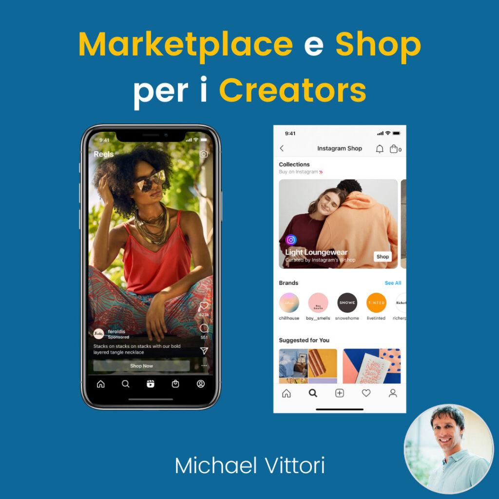 marketplace e instagram shop per creator