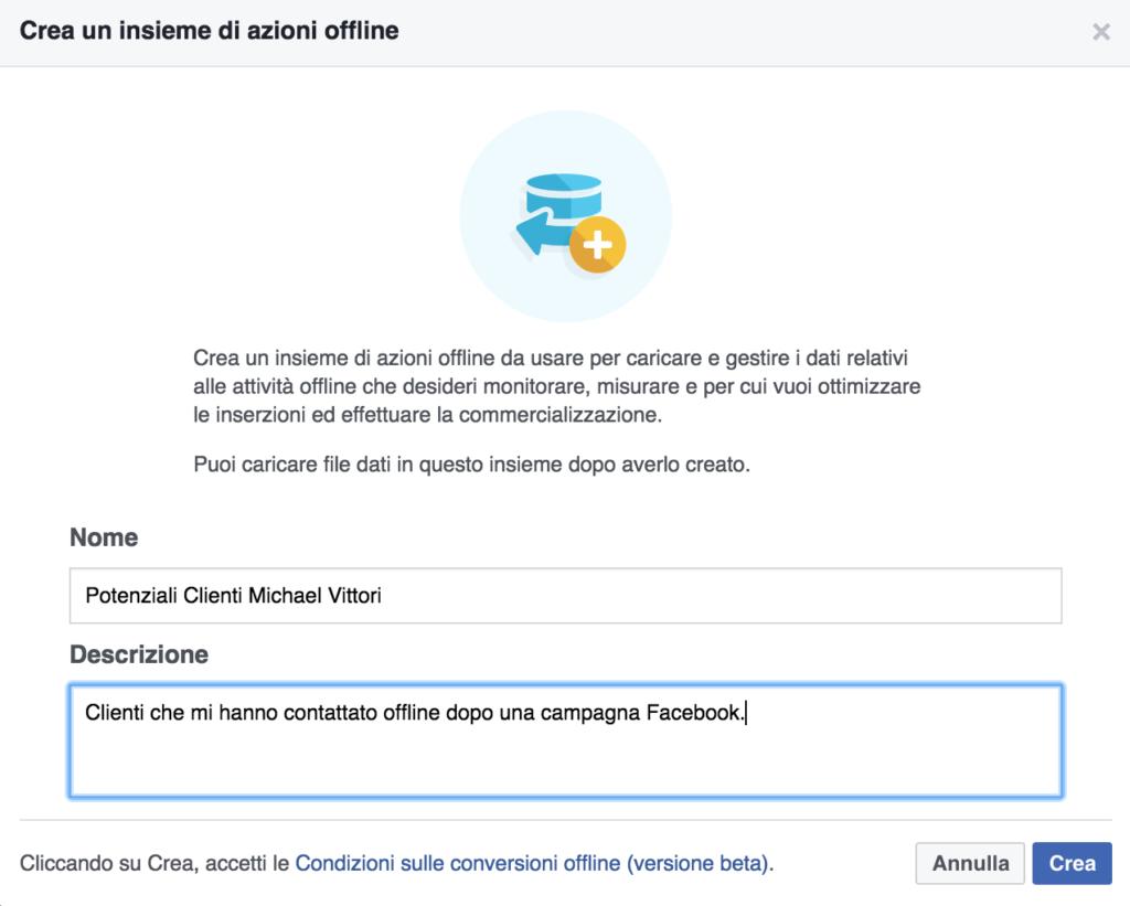 creazione azioni facebook offline