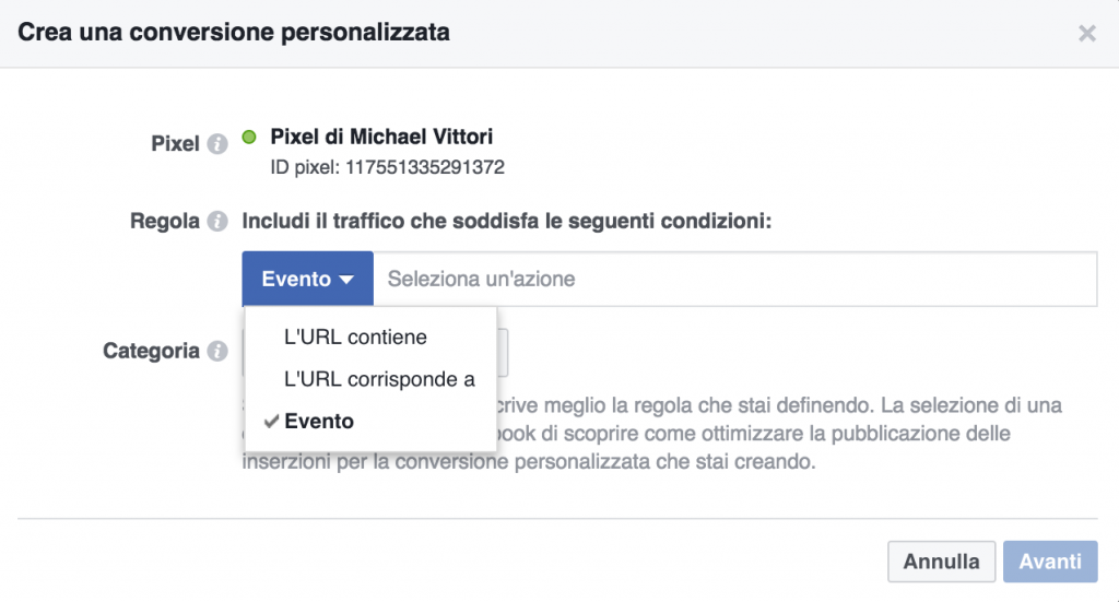 creazione conversioni facebook ads