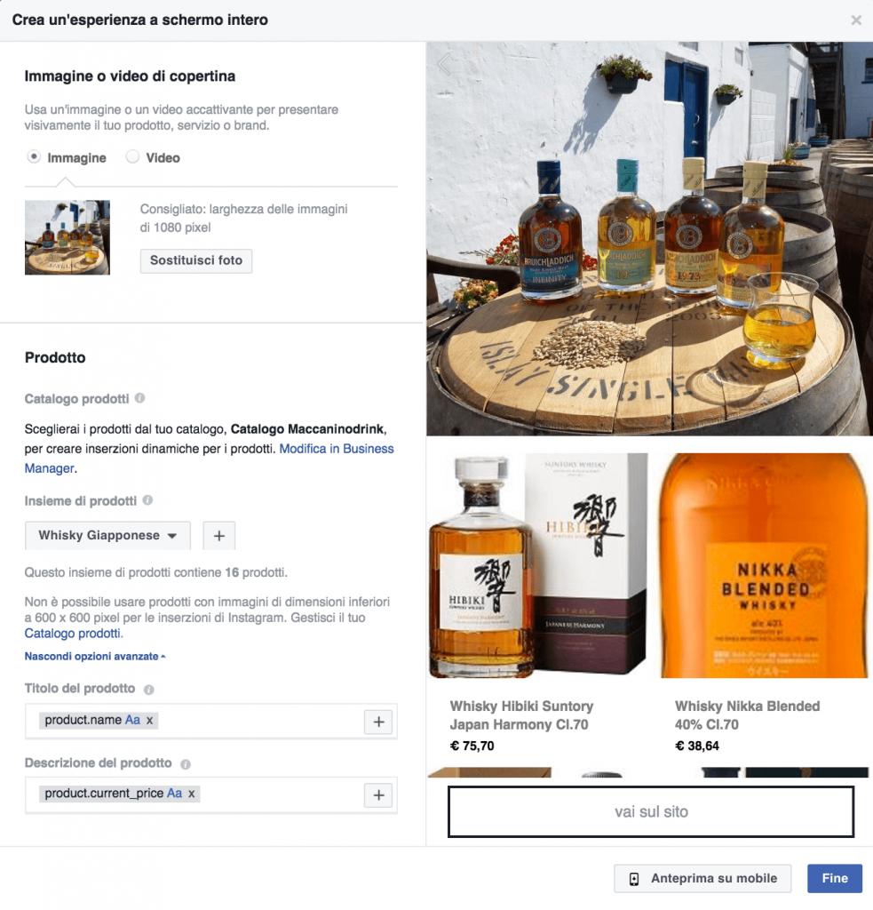 creazione facebook collection vendita prodotti
