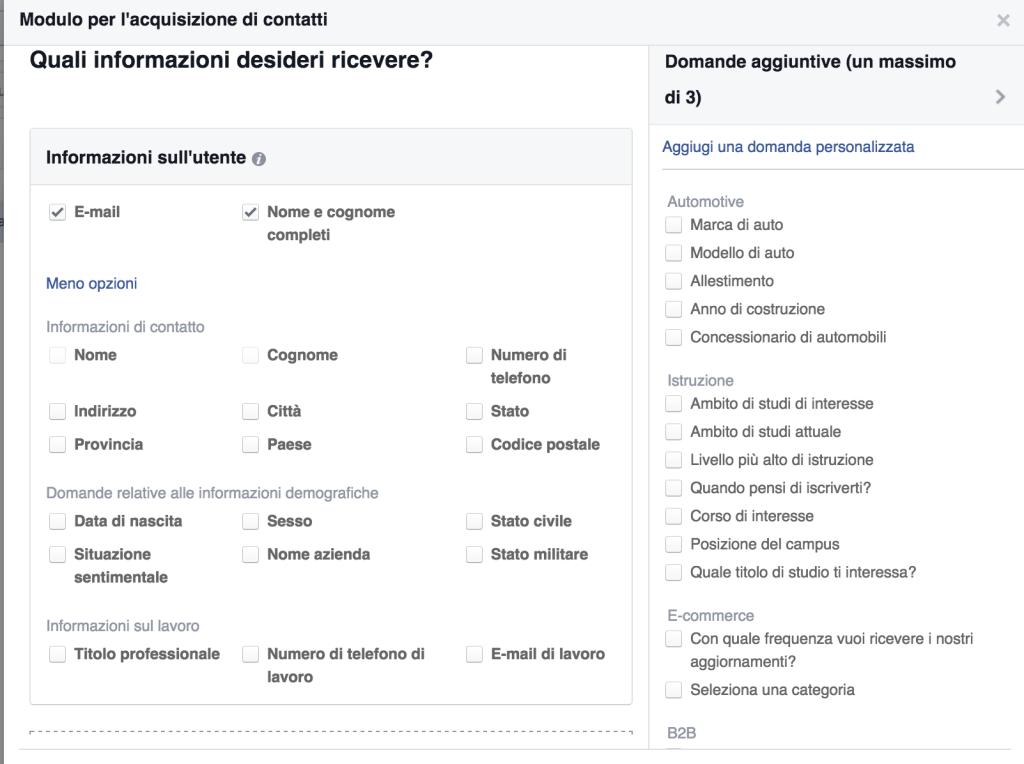 creazione modulo contatti facebook ads