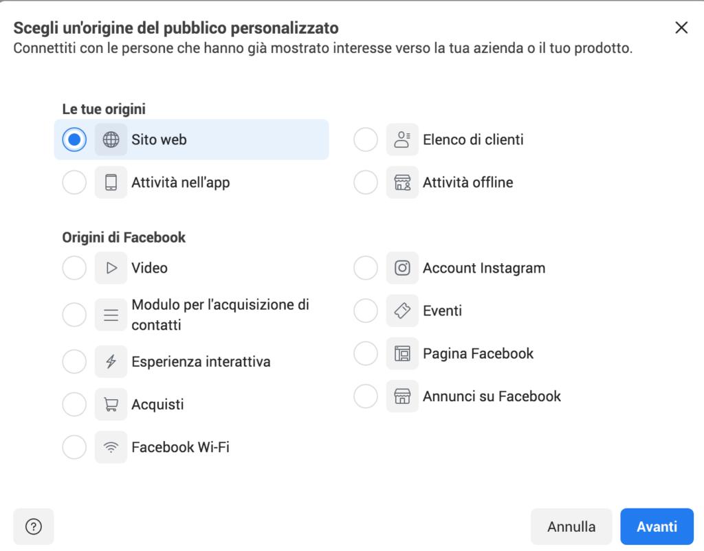 creazione pubblico personalizzato facebook