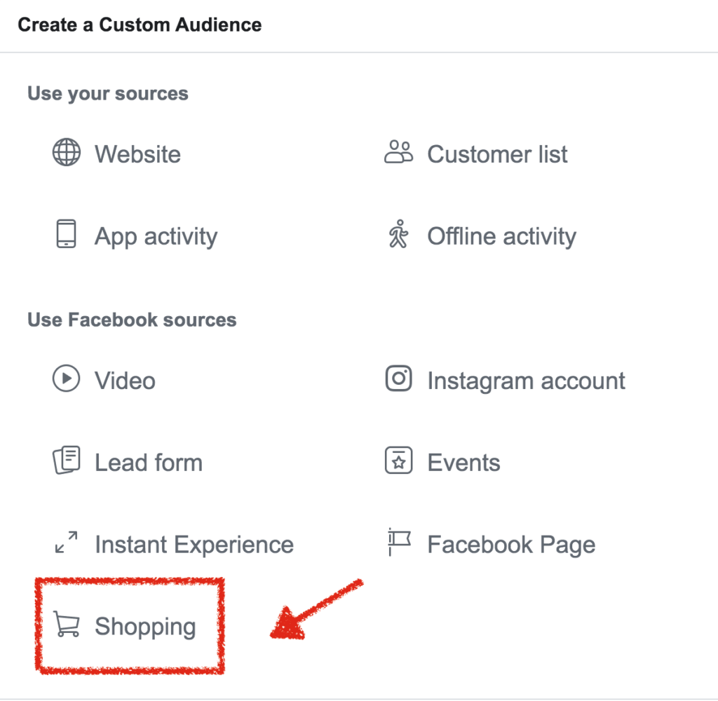 custom audience facebook shop
