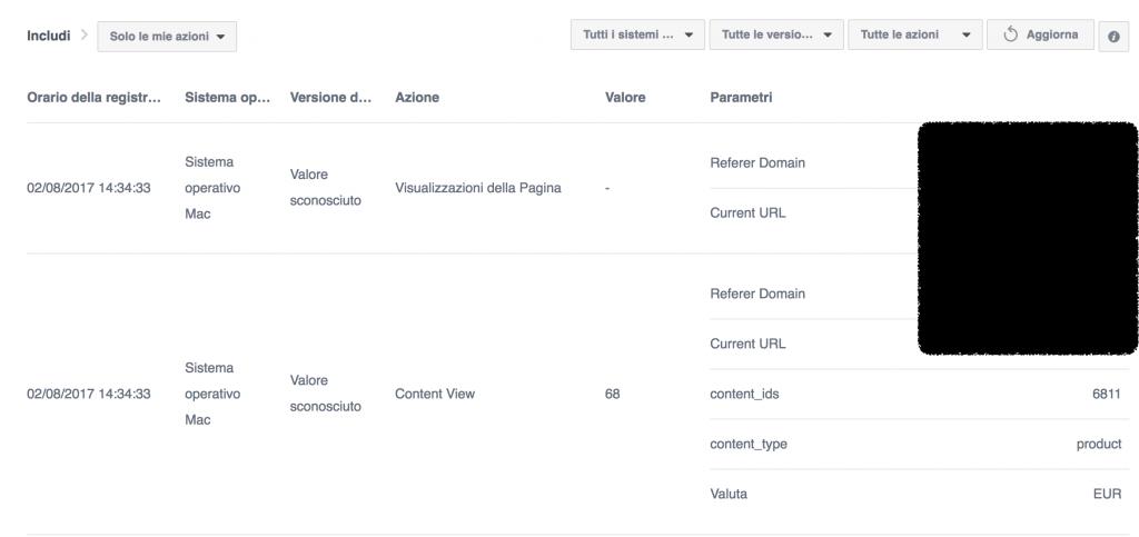 debug azioni eventi facebook analytics