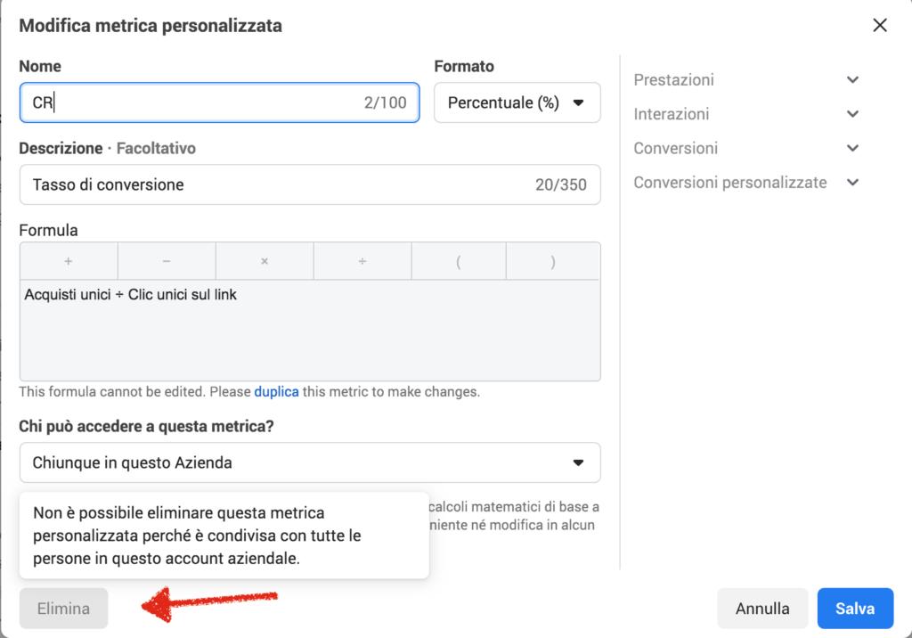 come eliminare metriche personalizzate facebook ads