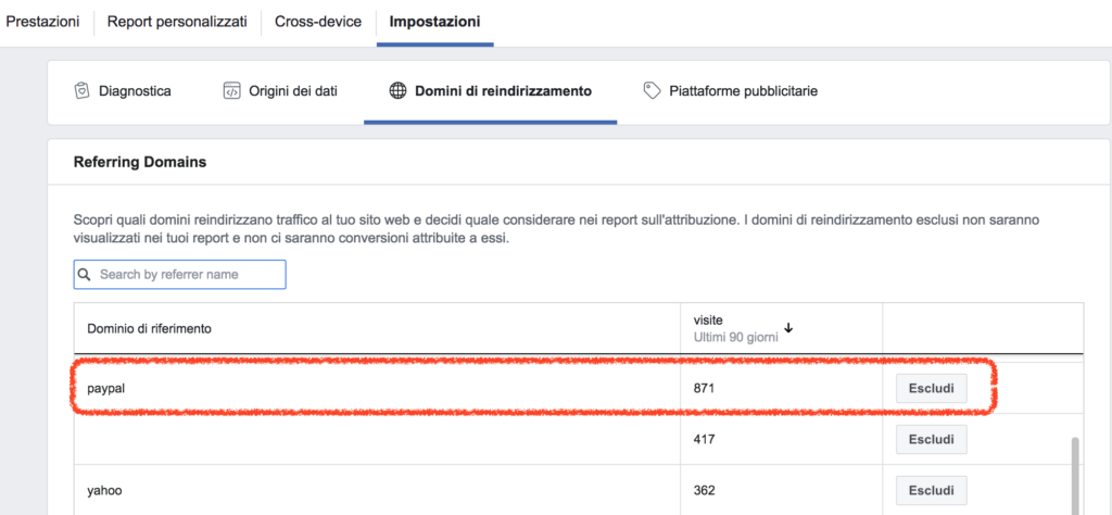 esclusione Paypal dai report di Facebook Attribution