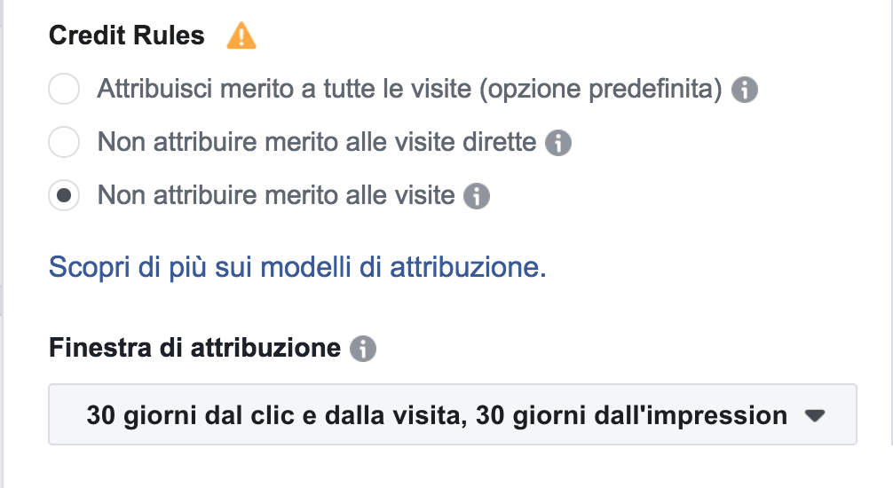 esclusione visite dirette facebook attribution