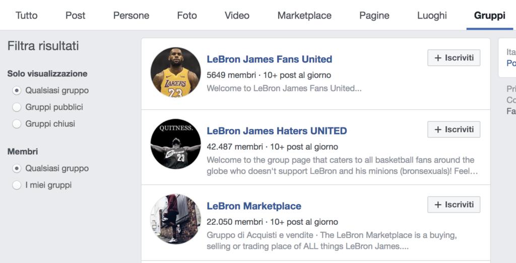 ricerca gruppi facebook