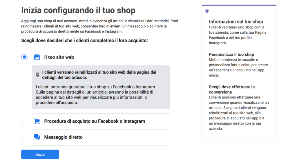 facebook shop gestore vendite