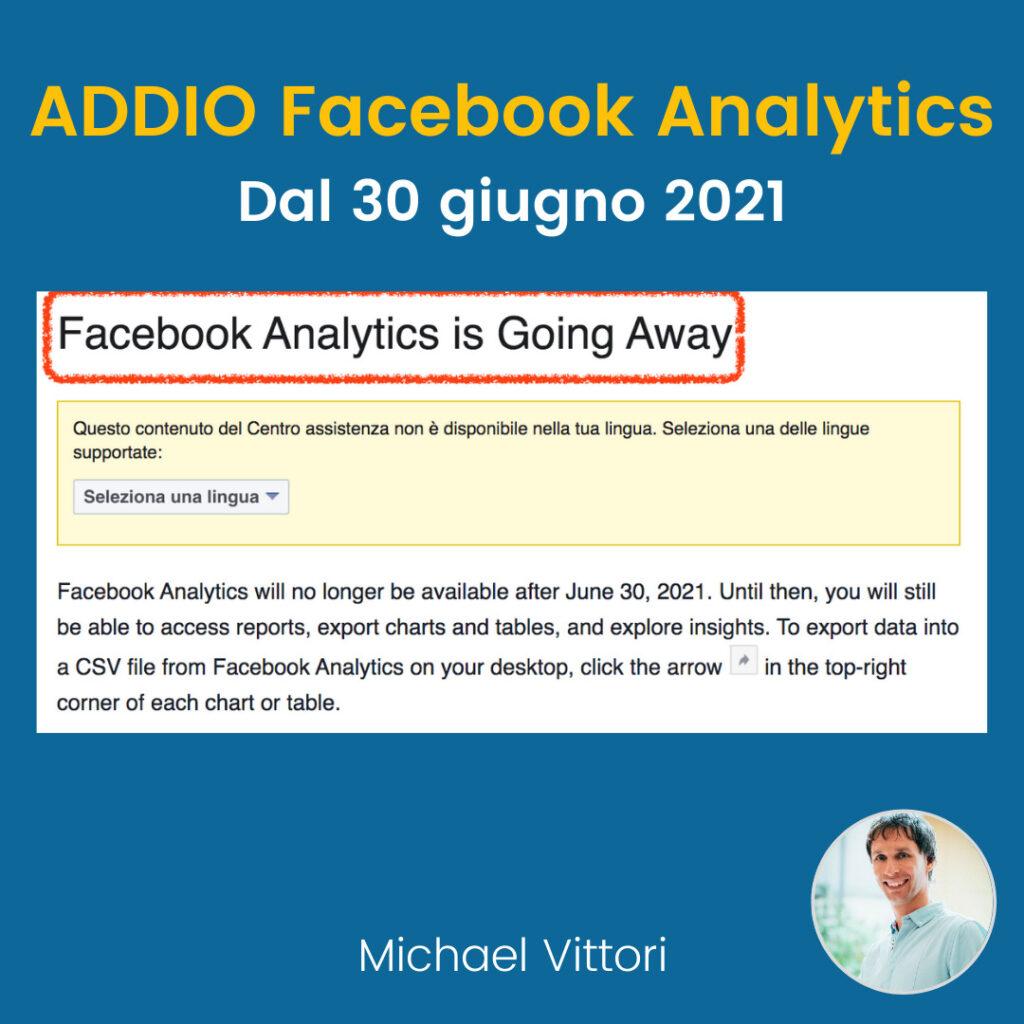 chiusura facebook analytics attribution