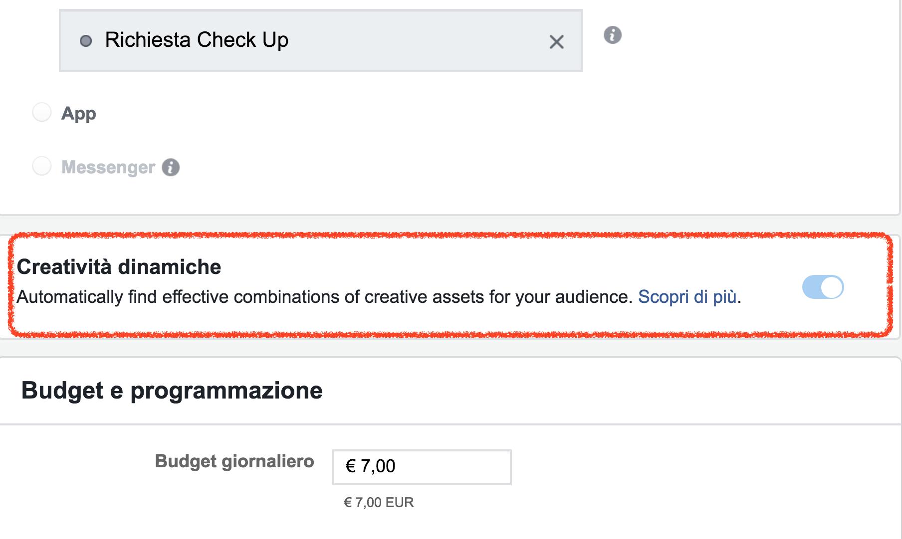 creatività dinamiche facebook ads