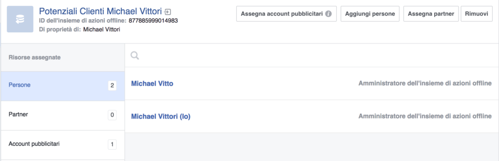 gestione azioni business manager facebook