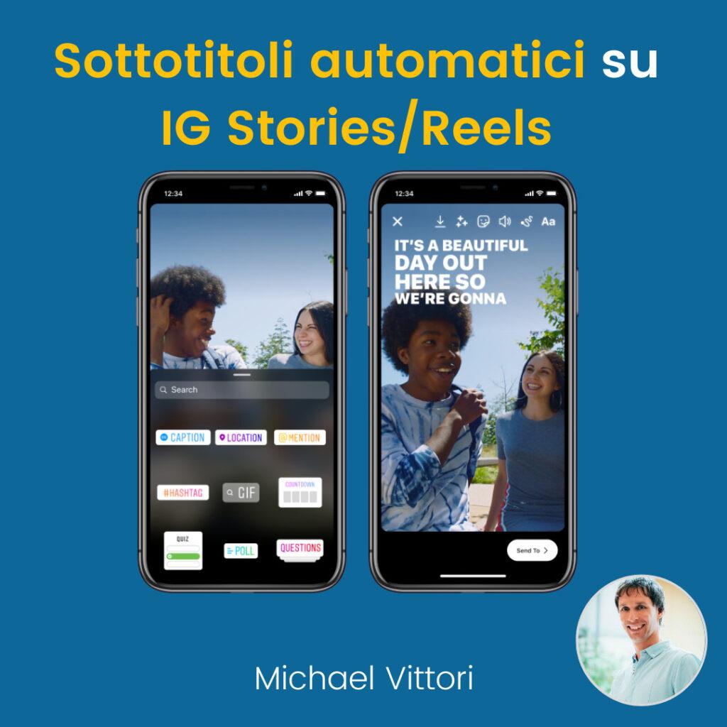 sottotitoli automatici instagram stories reels