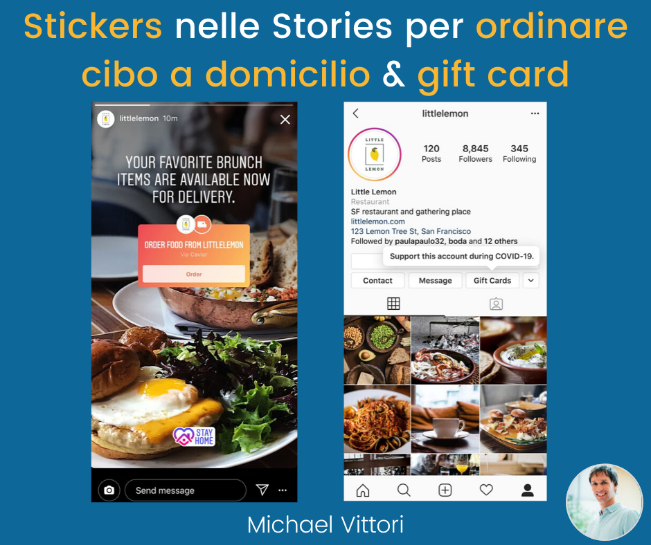 instagram stories sticker cibo domicilio