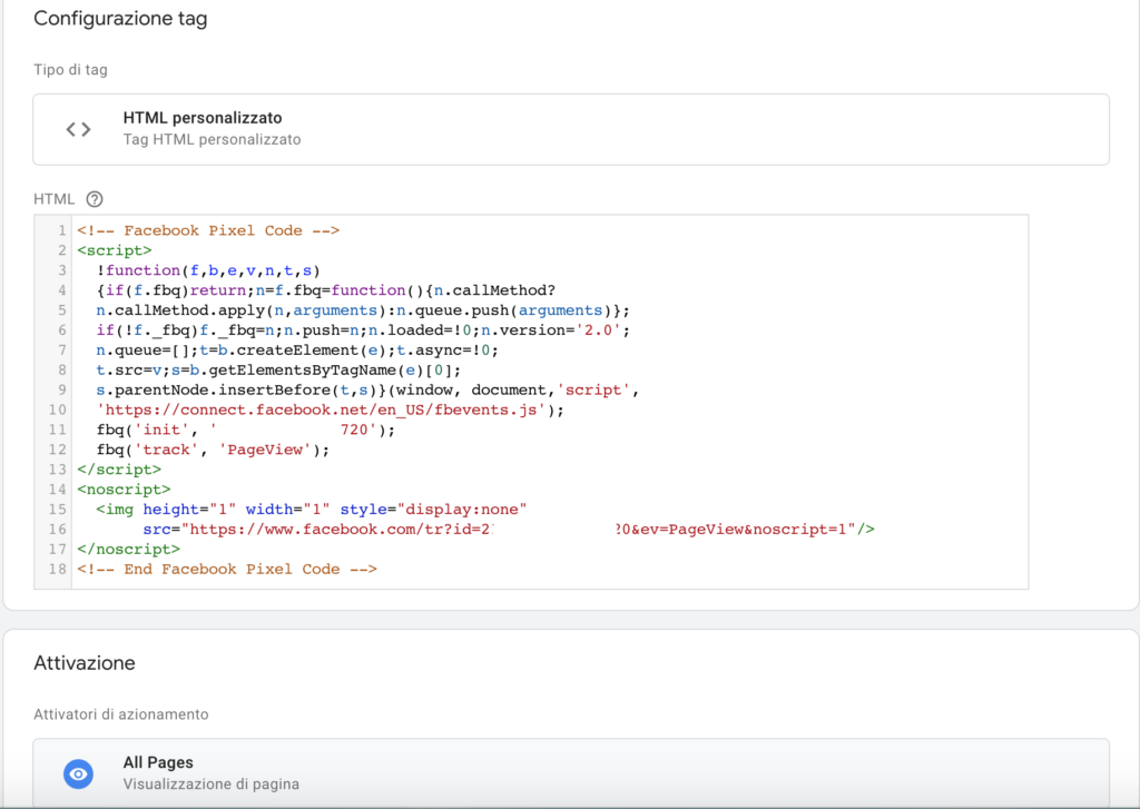 installare pixel con google tag manager