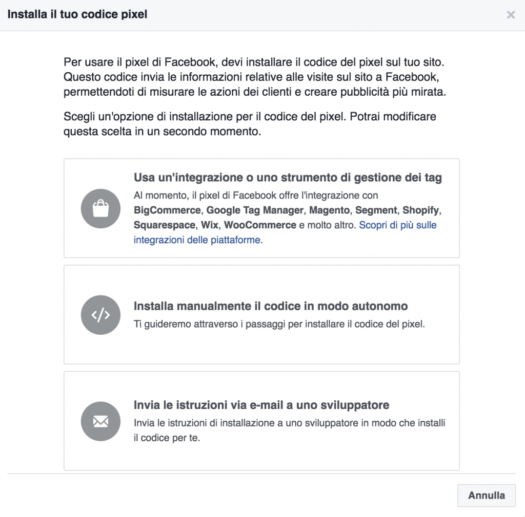 come installare facebook pixel