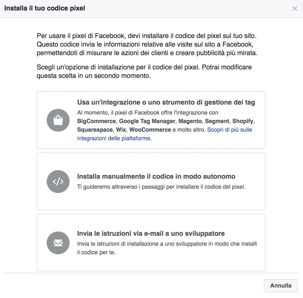 come installare facebook pixel