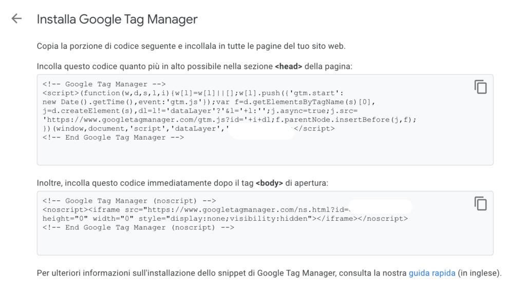 installazione google tag manager