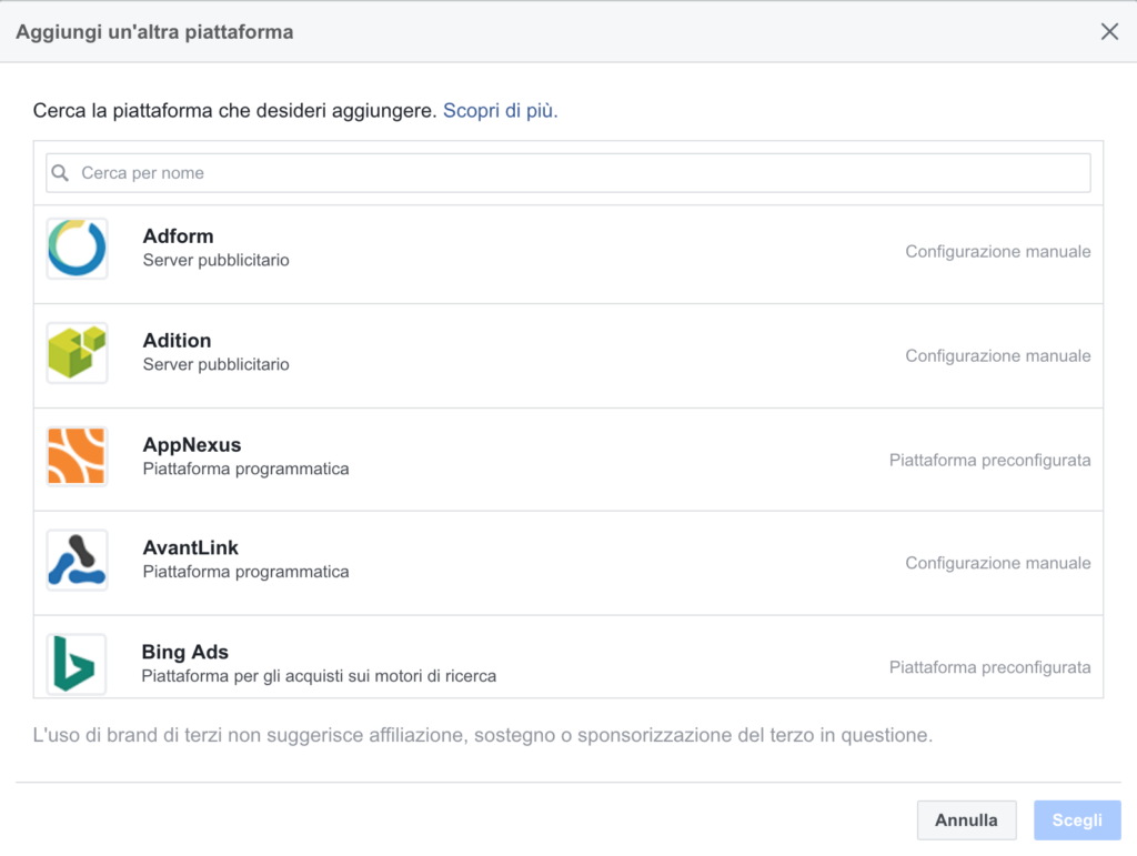 integrazione piattaforme facebook attribution