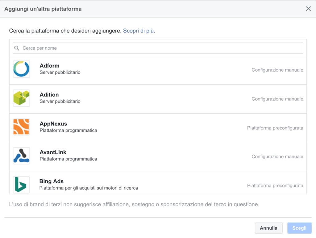 integrazione piattaforme facebook attribution