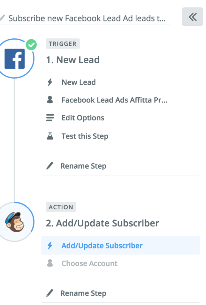integrazione zapier facebook lead ads mailchimp