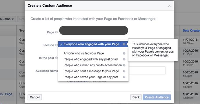 interazioni pagina facebook pubblico personalizzato