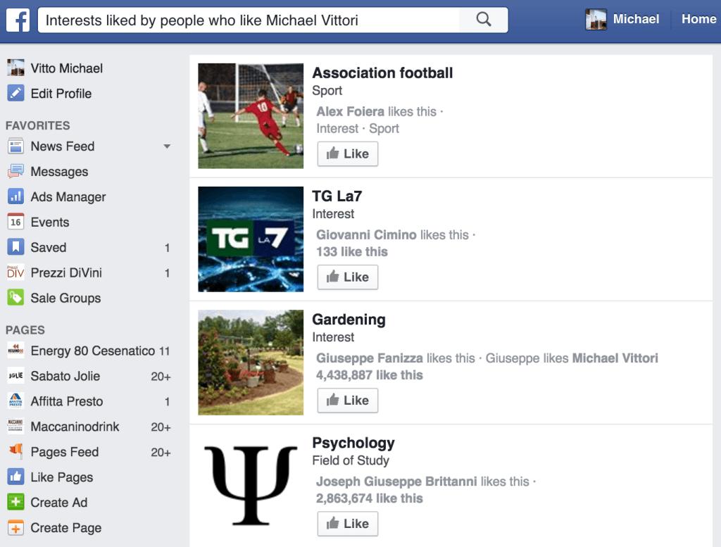 interessi facebook