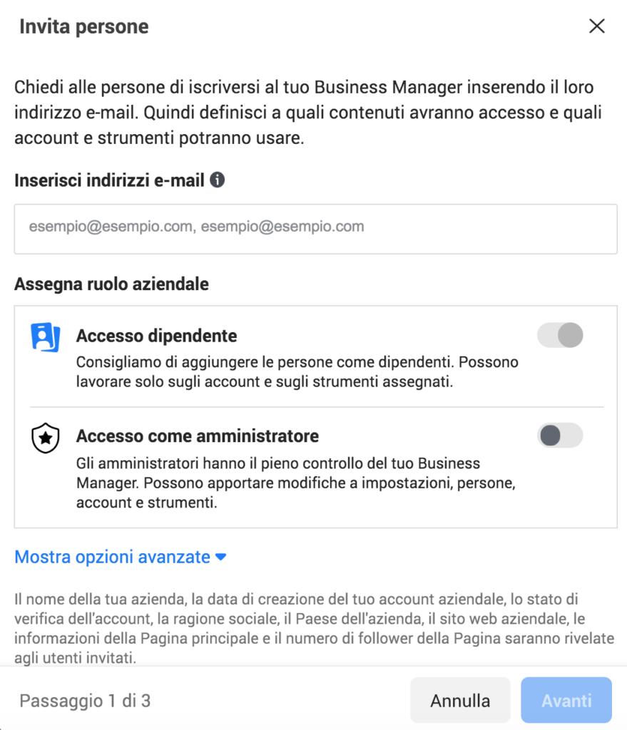 aggiunta persone business manager facebook