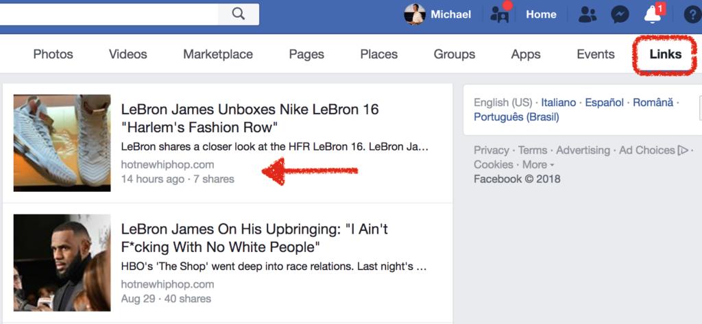 link dentro facebook