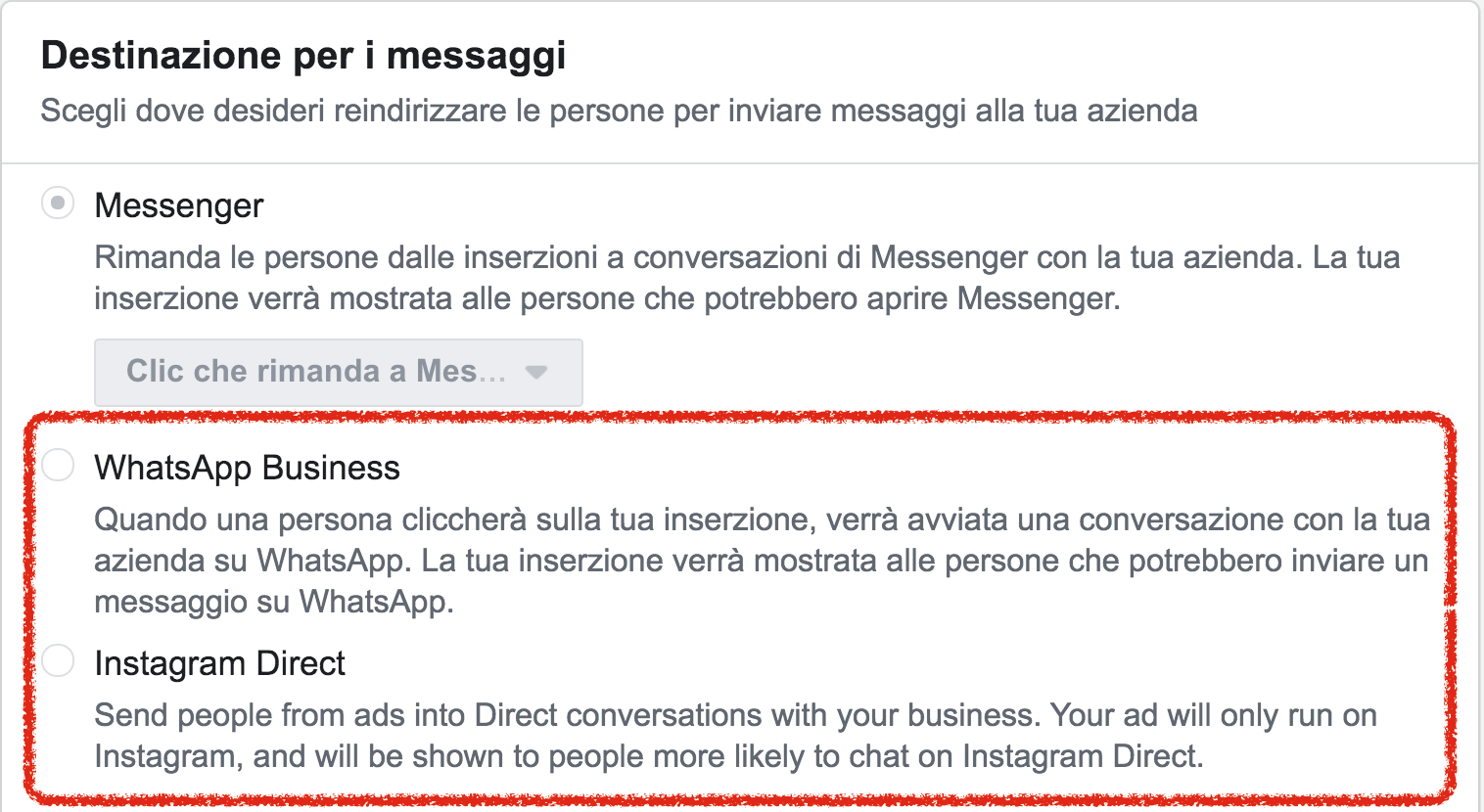 messaggi ads whatsapp instagram direct
