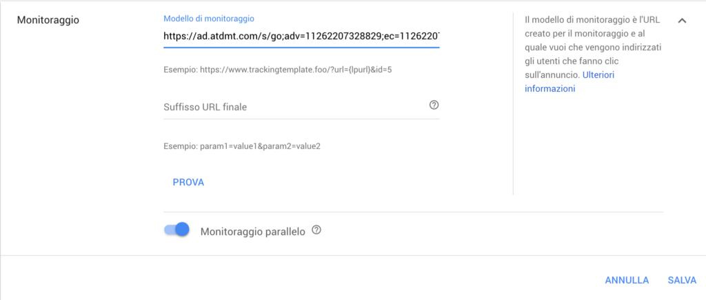 modello monitoraggio facebook google ads
