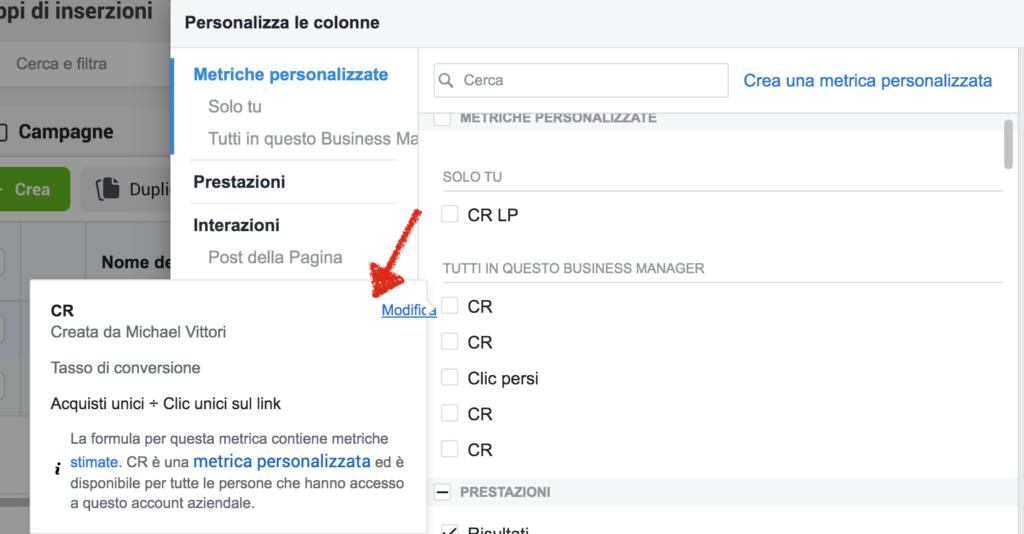 modificare metrica personalizzata campagne inserzioni facebook instagram