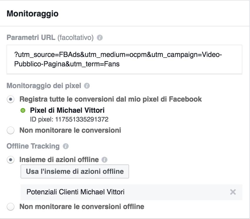monitoraggio conversioni offline facebook ads